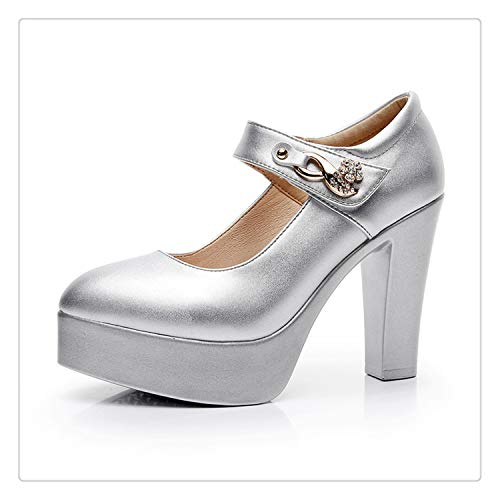 Women's Genuine Leather Shoes with Heels 2019 Spring Ankle Strap Pumps Women Medium Heel Wedding Shoes Woman Big Size 41 43 10cm Heel Silver 7 (80-dollar-schuhe)