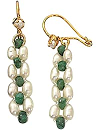 Surat Diamonds Real Emerald beads & Rice Pearl Hanging Earrings for Women (SE125)