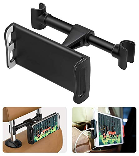 MoKo Kfz-Halterung für Handys/Tablets, 360 Grad verstellbar, für 10,2-27,9 cm Geräte, passend für iPad Pro 11/9,7 2018, iPad Air 3/Mini 5/Pro 10,5, iPhone XS/XS Max/XR, Galaxy S10, Schwarz (Headrest Mount Apple Air 2 Ipad)