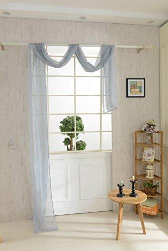 Magideal mantovana tenda voile sciarpa drappo da finestra letto misura 550x80cm - 9 colori - grigio