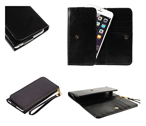 DFV mobile - Cover Premium Crazy Horse PU Leather Wallet Case with Card Slots for => Maxwest Android 4000 > Black (Maxwest Android-4000)