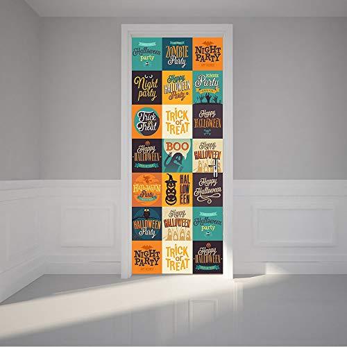 tzxdbh Kinderzimmer Dekoration Zubehör Kreative DIY 3D Tür Aufkleber Halloween Logo Süßes oder Saures Wandaufkleber Abziehbilder Wohnkultur 200 * 77 cm