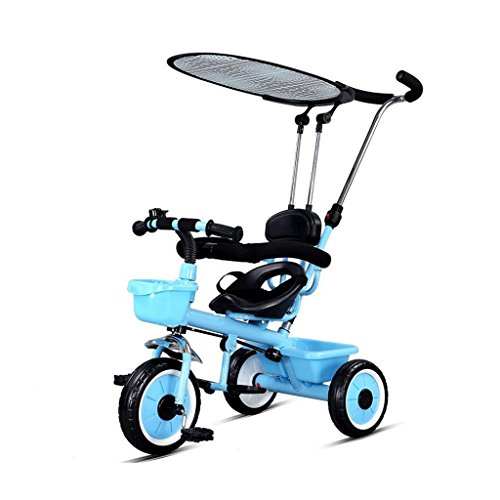 Bicyclettes de tricycles de main des enfants avec le vélo de bébé de visière 1-2-3-5 ans GAOLILI (Couleur : Bleu)