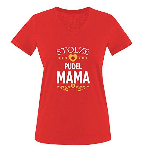 Comedy Shirts - Stolze Pudel Mama - Herz - Damen V-Neck T-Shirt - Rot/Weiss-Gelb Gr. L -