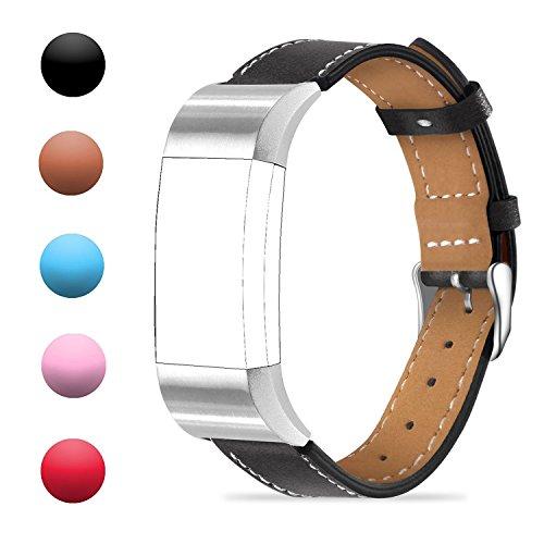 Für Charge 2 Zubehör Band Fitbit Charge 2 Echtes Leder Armband Ersatzband für Sport Fitness Tracker Fitbit Charge 2 Strap mit rostfreiem Rahmen für Fitbit Charge2 Smart Watch für Männer Frauen (Schwarz)