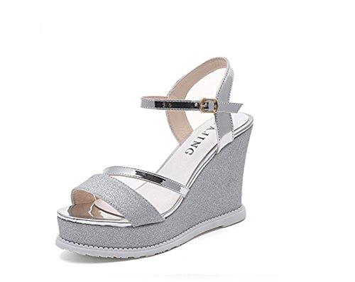 pengweiSandali Summer Ladies impermeabile piano piatto ispessito piano con sandali in bocca di pesce Silver