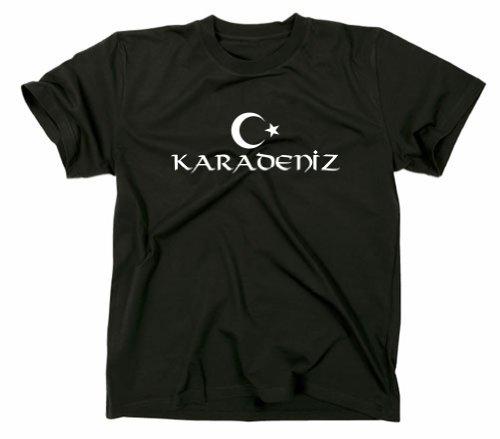 Karadeniz Türkei/Türkiye Flagge T-Shirt, schwarz, S