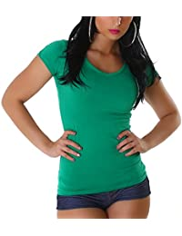 e8656fc78f01 Jela London Damen Basic T-Shirt Longshirt Slim-Fit Rundhals V-Ausschnitt