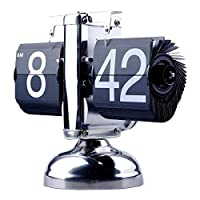 Stainless Steel Black Retro Style Flip Down Clock
