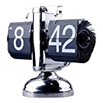 Stainless Steel Black Retro Style Flip Down Clock