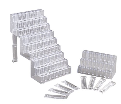 Camlab Plastics RTP/7409-04 Four Step Racks with Supports, Clear (Pack of 5)