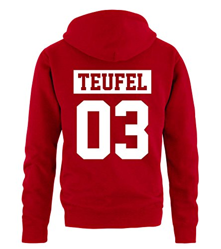 Teufel Hoodie (Comedy Shirts - Teufel 03 - NEGATIV - Herren Hoodie - Rot/Weiss Gr. XL)