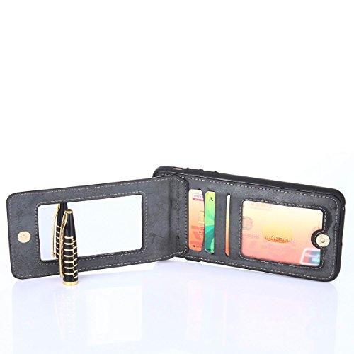 """MOONCASE iPhone 6/iPhone 6s Coque, Prime PU Cuir Cartes Holster avec Miroir Housse Ultra Slim Anti-dérapante Shock Absorption Protection Etui Case pour iPhone 6/iPhone 6s 4.7"""" Noir Noir"""