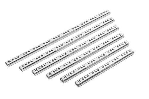 Gedotec Kugelauszug seitlich Schubladenschienen 17 mm Teleskopschiene Teilauszug für Schubladen | Länge: 342 mm | Teleskopauszug mit Tragkraft 15 kg | Auszugsschienen zum Schrauben | 10 Paar - Auszüge
