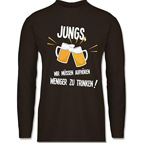 Shirtracer Statement Shirts Jungs, Wir Müssen Aufhören Weniger zu Trinken  Herren Langarmshirt Braun