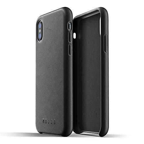 Mujjo CS-095-BK - Funda de Piel Lisa para Apple iPhone X, Color Negro