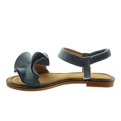 Moda Angkorly con Caviglia a Blu 5 cm con Blocco 1 Cinturino Alla Scarpe Donna Sandali Volant Tacco qtrxt5