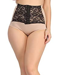 Clovia Womens Tummy Tucker in Beige with Contrast Lacy Waist Cincher Girdle (SW0010P24_Beige_XX-Large)