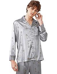 a6e7b60ba MEMIND Hombres de Seda Pijamas Vestido de mañana Albornoz Pantalones de  Manga Larga de Primavera y Verano Ocio Hombre Negro Conjunto…