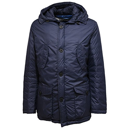 FREEDOMDAY 6574U Giubbotto Uomo Blu Logan Cappuccio real down Jacket Man [XL]