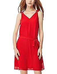 HaiDean Mujer Vestidos Cortos Verano Fashion Sin Mangas V Cuello Unicolor Bonita Modernas Casual Línea A Vestido Vestido Gasa Mini…