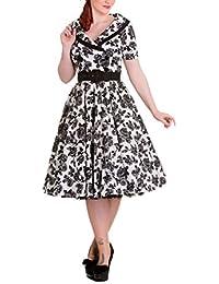 Robe Hell Bunny Rockability années 50 produit de marque bien balancée cintrée ruban de taille noir blanc