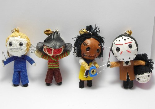 Slasher Horror Set of 4 x Voodoo String Doll Keychain Keyring Ornament Charms by String Doll World (String Set Doll)
