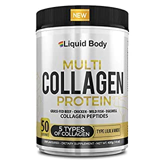 Multi Collagen Protein Peptide Powder, 5 Types of Collagen, Type I, II, III, V & X, Quality Blend of Hydrolysed Grass-Fed Chicken & Beef, Wild Fish & Egg Collagen, Keto Friendly, 400g at 50 Servings