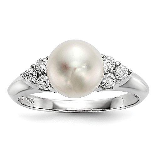 Diamond2deal Ring Sterlingsilber (925) weiße FWC Perle Zirkonia 8-9 mm