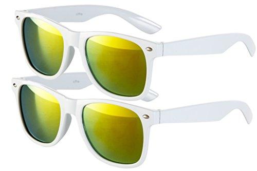 2 er Set EL-Sunprotect Sonnenbrille Nerdbrille Brille Nerd Feuer Verspiegelt Weiß Sparpack