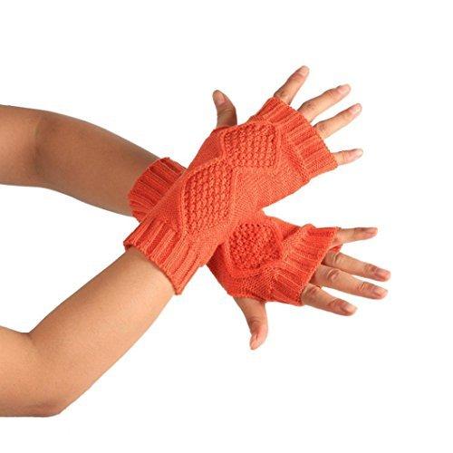 Inkach Fashion Knitted Arm Fingerless Winter Gloves Soft Warm Mitten (Orange)
