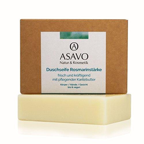 ASAVO Premium Naturseife Rosmarin, handgeschöpft, mit feiner Bio-Karitébutter, nativem Bio-Kokosöl & 100% ätherischen Ölen, vegan, ohne Palmöl, 95g