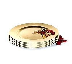 BigDean Platzteller 6 Stück Dekoteller Event Teller Unterteller Antik - Gold - farbend 33cm Kunststoff