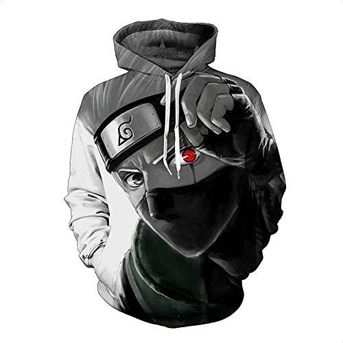 Eo4v Unisex 3D Druck Hoodie Kapuzenpullover Langarm Sweatshirt Kapuzenjacke Mit Taschennaruto Kakashi XXL