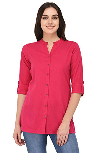 Pistaa women's Rani Pink Solid Cotton Short Top Kurti