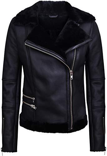 Infinity Leather Schwarze Lammfell-Bikerjacke Aus Lammleder für Damen S