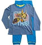 Transformers Schlafanzug Jungen Pyjama Lang (Blau, 110-116)