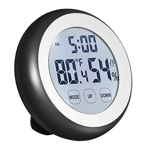 Higrómetro Termómetro Reloj 3 en 1 Digital Temperatura Humedad Monitor Calibre Interior / Exterior Humedad Medidor con Tiempo Gran Pantalla LCD Retroiluminación Pantalla Táctil para Bebé Comodidad