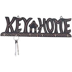 """Portachiavi in legno, con ottone e decorativo Design Portachiavi in legno chiave """"Key & Home"""" Design, Portachiavi in colore nero"""