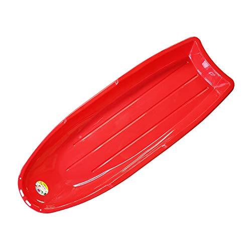 ZHAOK Slitta da Neve in plastica per slittini per Bambini per Bambini Adulti Tirare All'aperto Bordo Snowboard Snow,Rosso