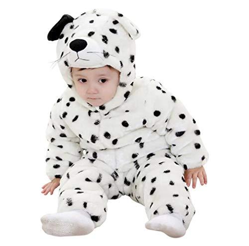 Lovelegis ( 0-6 Mesi ) Costume in Morbido Peluche - Pile - Tuta - Tutina da Leopardo Bianco - Travestimento Carnevale - Halloween - Bambina -Bambino Neonato - Unisex -Cosplay