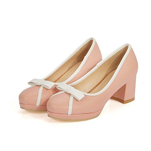 AgooLar Damen Gemischte Farbe Pu Leder Mittler Absatz Rund Zehe Ziehen Auf Pumps Schuhe Pink