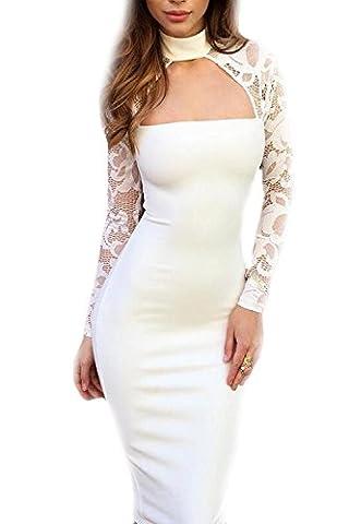 Long White Halter Dress - Manches Longues Femme Élégante Robe Décolletée Bodycon