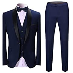 Idea Regalo - Abito da Uomo 3 Pezzi Slim Fit Abiti da Pranzo Nero Rosso Blu Formale Giacca da Smoking da Uomo Giacca Gilet Pantaloni