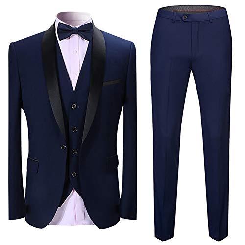 Sliktaa Homme Costume Élégant 3 Pièces Tuxedo Slim Fit Classique d'affaires Mariage Bals Veste+Gilet+Pantalo