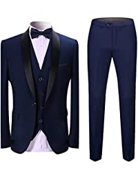 1b18780c8dd Sliktaa Homme Costume Élégant 3 Pièces Tuxedo Slim Fit Classique d affaires  Mariage Bals Veste