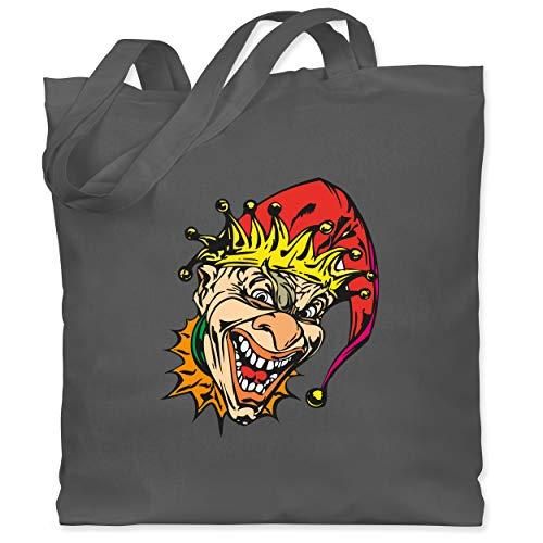 Kostüm Narren Böse - Shirtracer Karneval & Fasching - Clown - Joker - Unisize - Dunkelgrau - WM101 - Stoffbeutel aus Baumwolle Jutebeutel lange Henkel