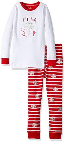Hatley Mädchen Zweiteiliger Schlafanzug Long Sleeve Waffle Appliqué Pyjama Sets, Weiß (Candy Cane 100), 12 Jahre (Applique Candy)