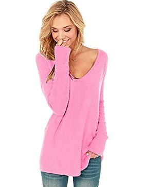 Suéter con cuello en V de manga larga para mujer