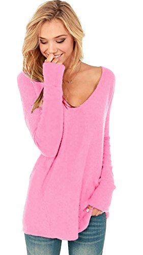 mikos-womenss-v-neck-off-shoulder-long-sleeve-knit-top-blouse-jumper-652-s-m-pink